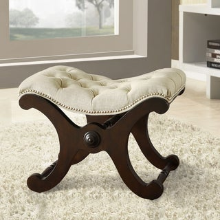 TRIBECCA HOME Imperial Beige Linen Bench with Nailhead Detail