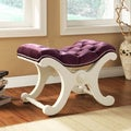 ETHAN HOME Imperial Purple Velvet White Bench with Nailhead Detail