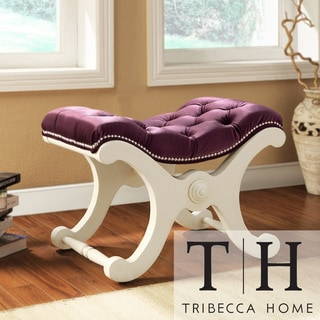 TRIBECCA HOME Imperial Purple Velvet White Bench with Nailhead Detail