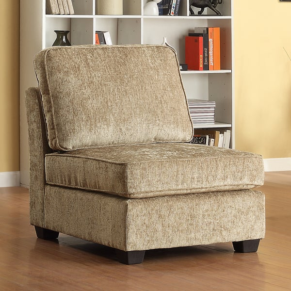 TRIBECCA HOME Barnsley Armless Brown Beige Chenille Chair