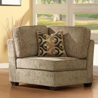 Tribecca Home Barnsley Brown Beige Corner Chair with Pillow