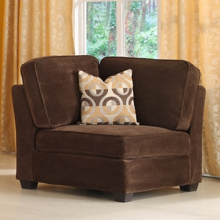 Tribecca Home Barnsley Dark Brown Corner Chair with Pillow