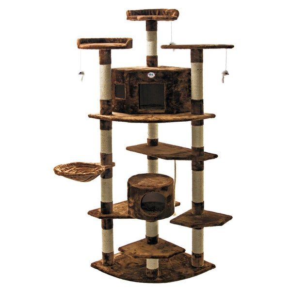 Go Pet Club Cat Tree Furniture Brown 80 inches High