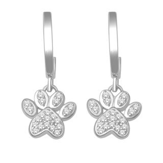 De Couer 10k White Gold 1/10ct TDW Diamond Paw Print Earrings (H-I, I2-I3)