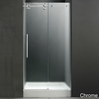 VIGO Stainless-Steel Frameless Left-Sided Shower Door/White-Base Center Drain