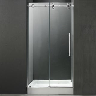 VIGO Frameless Right Sided Shower Door/ White Base Center Drain
