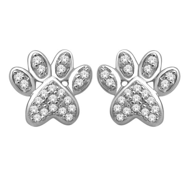 De Couer 10k White Gold 1/10ct TDW Diamond Dog Paw Print Earrings (H-I, I2-I3)