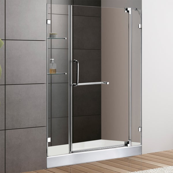 VIGO 48-inch Frameless Shower Door 0.375-inch Clear Glass With White Base