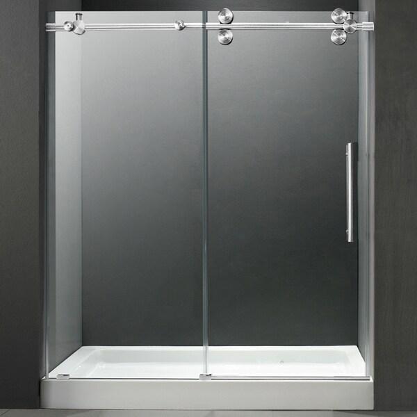 VIGO 60-inch Frameless Center Drain Shower Door 0.375-inch Clear Glass With White Base
