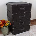 International Caravan Vintage Antique Faux Leather Four-Drawer Chest