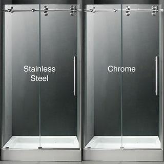 VIGO 48-inch Frameless Center Drain Shower Door 0.375-inch Clear Glass With White Base