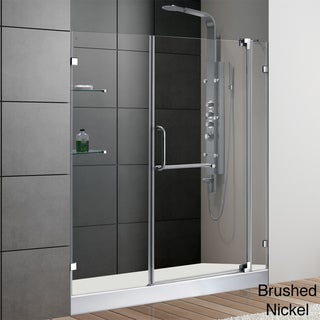 VIGO 60-inch Frameless Shower Door 0.375-inch Clear Glass With White Base