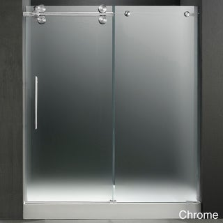 VIGO 60-inch Frameless Center Drain Left-sided Shower Door 0.375-inch Frosted Glass With White Base