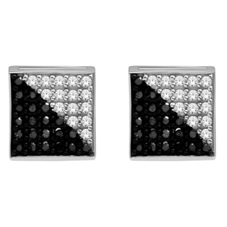 De Couer  10k White Gold 1/3ct TDW Black and White Diamond Earrings (H-I, I2-I3)