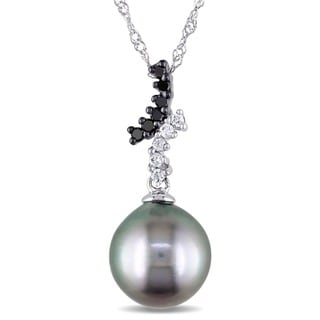 Miadora 10k White Gold Pearl and 1/10ct TDW Diamond Necklace (H-I, I2-I3)