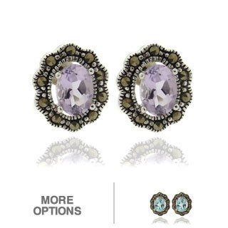 Dolce Giavonna Silver Overlay Marcasite and Oval Gemstone Stud Earrings