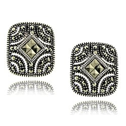 Dolce Giavonna Silver Overlay Marcasite Square Stud Earrings