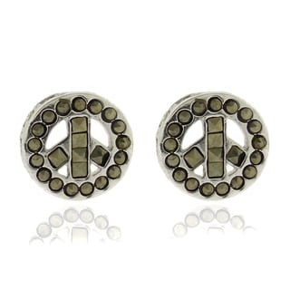 Dolce Giavonna Silverplated Marcasite Peace Symbol Stud Earrings