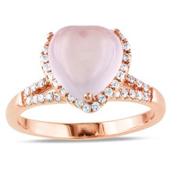 Miadora Pink Plated Silver Rose Quartz and Cubic Zirconia Heart Ring