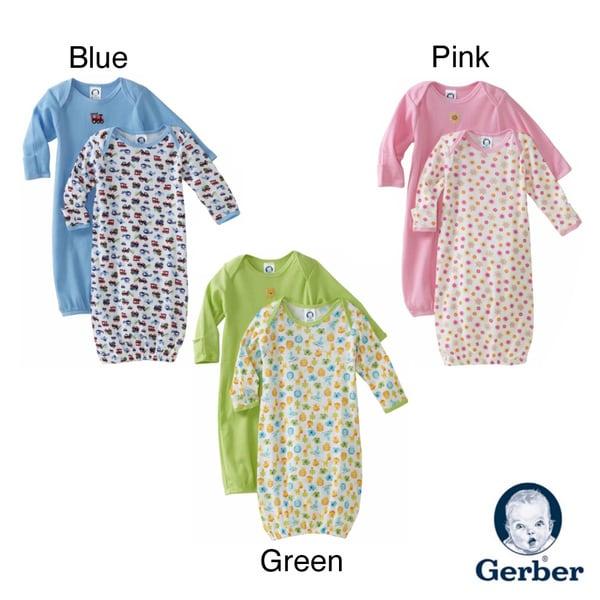 Gerber Lap Shoulder Gown 0-6 Months (Set of 2)