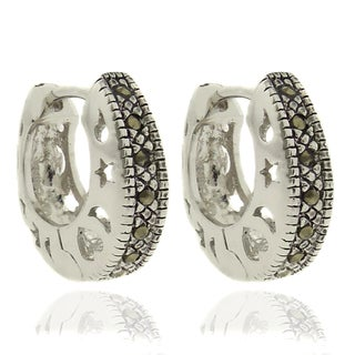 Dolce Giavonna Silver Overlay Marcasite Cutout Design Hoop Earrings