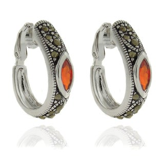 Dolce Giavonna Silver Overlay Garnet and Marcasite Clip-on Hoop Earrings