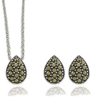 Dolce Giavonna Silver Overlay Marcasite Teardrop Pendant and Earrings Set