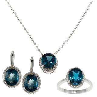 Dolce Giavonna Silver London Blue Topaz and Diamond Ring, Earring, Pendant or Set