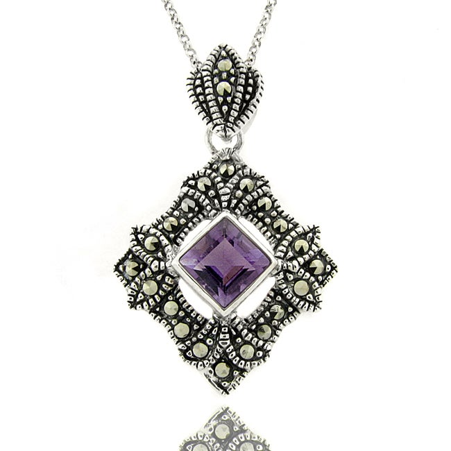 Dolce Giavonna Silver Overlay Amethyst Marcasite Geometric Necklace