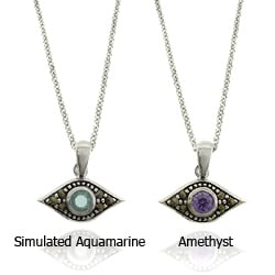 Dolce Giavonna Silver Overlay Gemstone and Marcasite Evil Eye Necklace