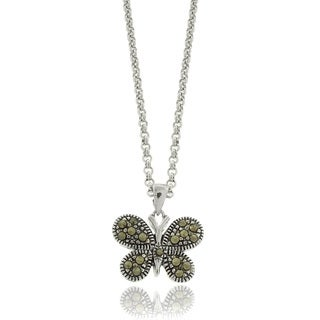 Dolce Giavonna Silver Overlay Marcasite Butterfly Necklace