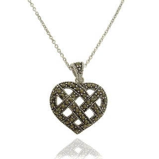 Dolce Giavonna Silver Overlay Marcasite Lattice Heart Necklace