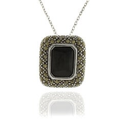 Dolce Giavonna Silverplated Black Onyx and Marcasite Square Necklace