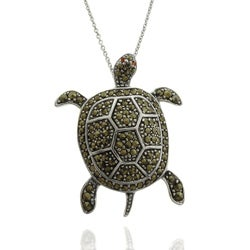 Dolce Giavonna Silver Overlay Marcasite and Cubic Zirconia Turtle Necklace