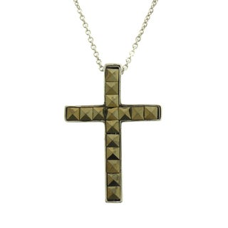 Dolce Giavonna Silver Overlay Square Marcasite Cross Necklace