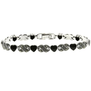 Dolce Giavonna Silver Overlay Black Onyx and Marcasite Heart Infinity Bracelet