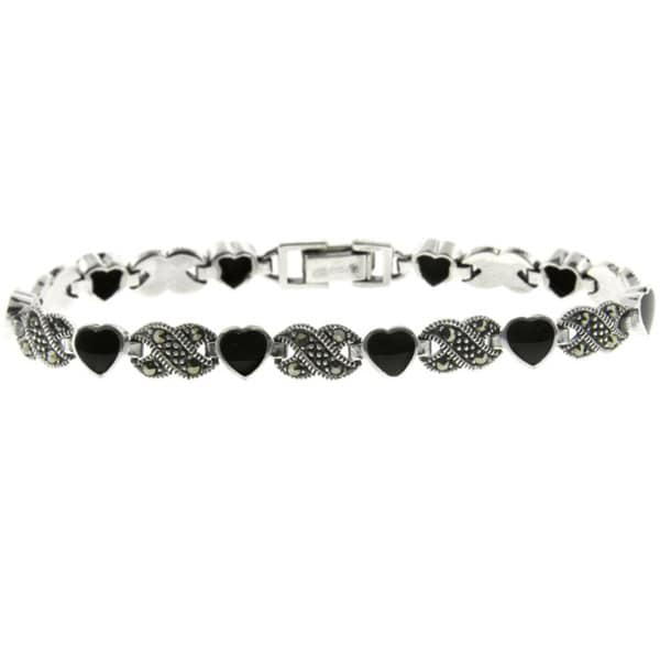 Dolce Giavonna Silverplated Black Onyx and Marcasite Heart Infinity Bracelet