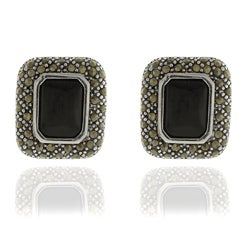 Dolce Giavonna Silver Overlay Black Onyx and Marcasite Earrings