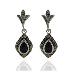 Dolce Giavonna Silver Overlay Black Onyx and Marcasite Teardrop Dangle Earrings