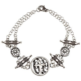 Silver-plated Antique Finish Cross Charm Bracelet (Israel)