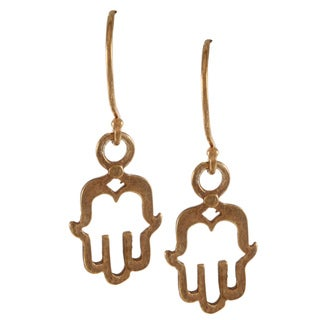 Gold-plated Hamsa Hook Earrings (Israel)