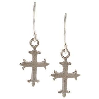 Silver-plated Cross Hook Earrings (Israel)