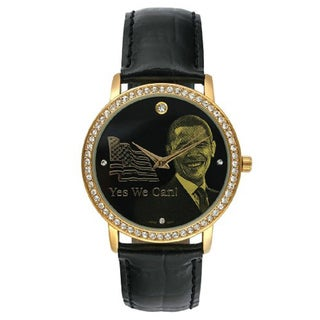 Barack Obama BO-4710 Women's Black Leather Strap Inauguration Watch