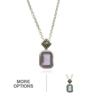 Dolce Giavonna Silverplated Gemstone and Marcasite Rectangular Necklace