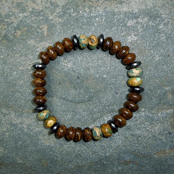 Pavcus Designs Impression Jasper, Bronzite, and Hematite Gemstone Stretch Bracelet
