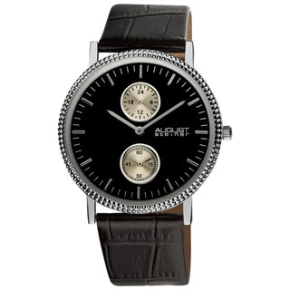August Steiner Men's GMT Leather Strap Quartz Watch