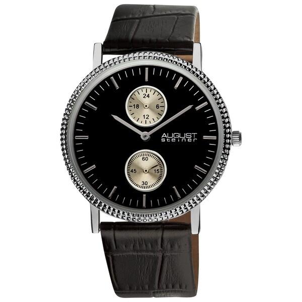 August Steiner Men's GMT Leather Strap Quartz Watch