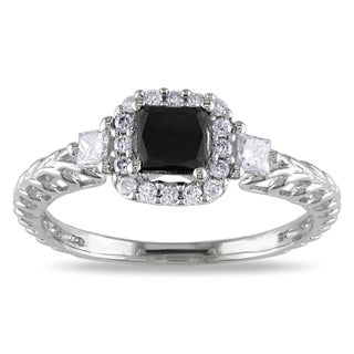 Miadora 14k White Gold 5/8ct TDW Black and White Diamond Ring (G-H, I1-I2)
