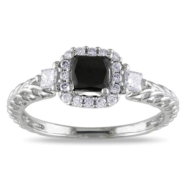Miadora 14k White Gold 5/8ct TDW Black and White Diamond Engagement Ring (G-H, I1-I2)