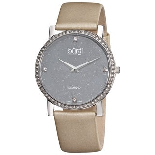Burgi Women's Swiss Quartz Gray Diamond Strap Watch